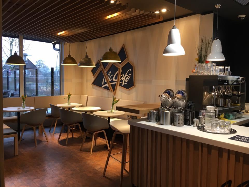 McCafé Lounge with 'Broken' Logo
