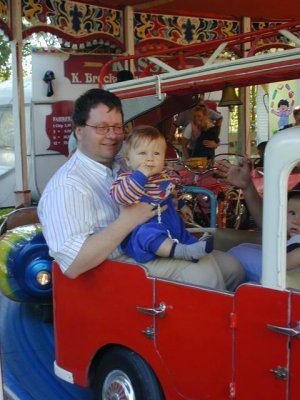 carousel: PapaScott & Christopher are riding the fire truck