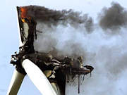Burning wind generator after being struck by lightning