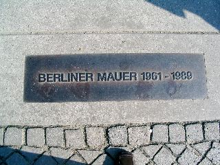 Marker for former location of Berlin Wall