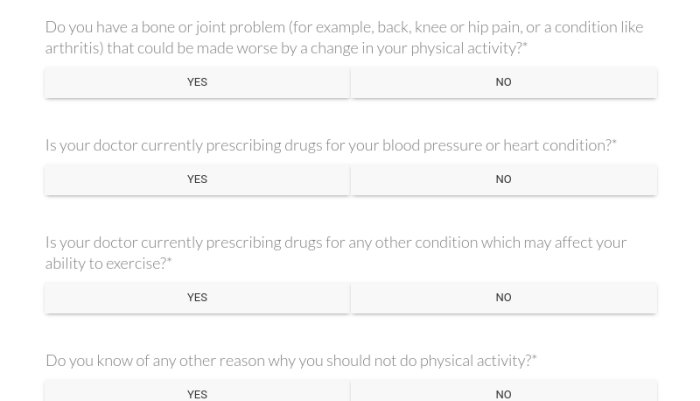 Physical Activity Questionaire