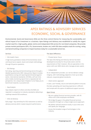 Apex ESG Ratings and Advisory Services Flyer
