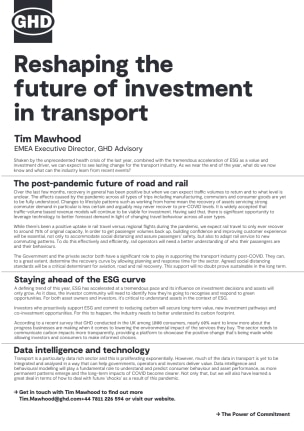 Reshaping the future of investment in transport