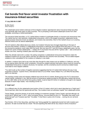 Cat bonds find favor amid investor frustration with insurance-linked securities