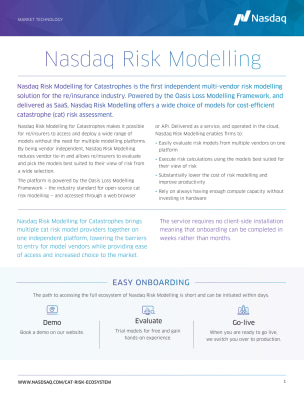 Nasdaq Risk Modelling for Catastrophes Fact Sheet