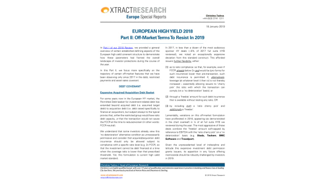 European High Yield 2018 Part II: Off-Market TermsTo Resist In 2019
