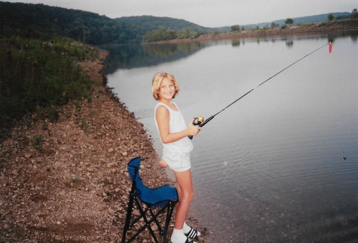 Addy fishing, a common activity for the Nemes family.