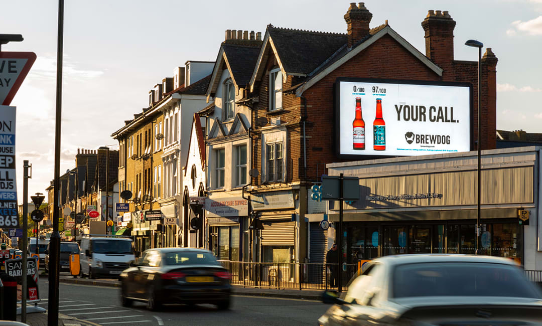 Digital billboard on a high street