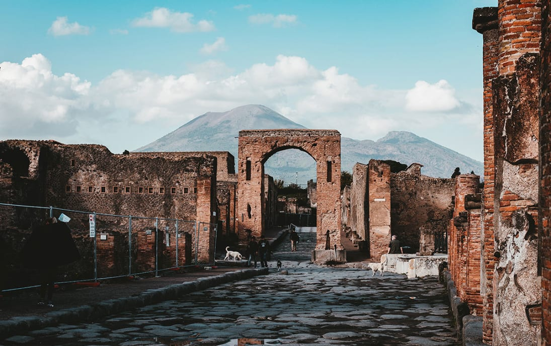 Pompeii ruins and Mount Vesuvius