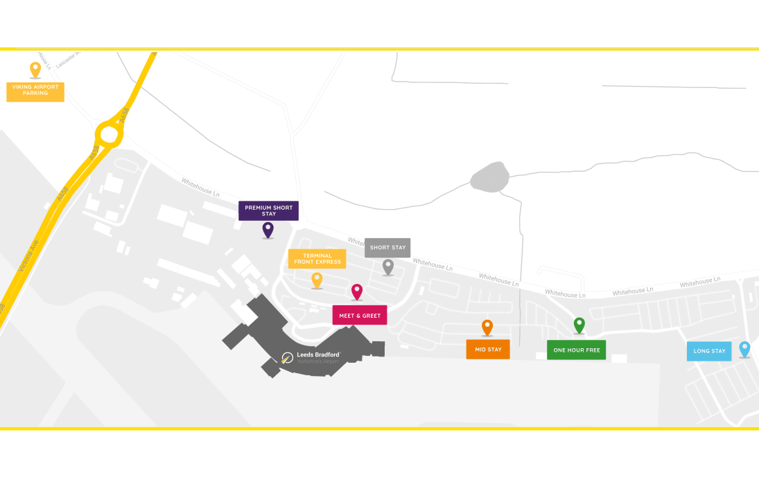Car Park Locations - Leeds Bradford Airport Parking Map