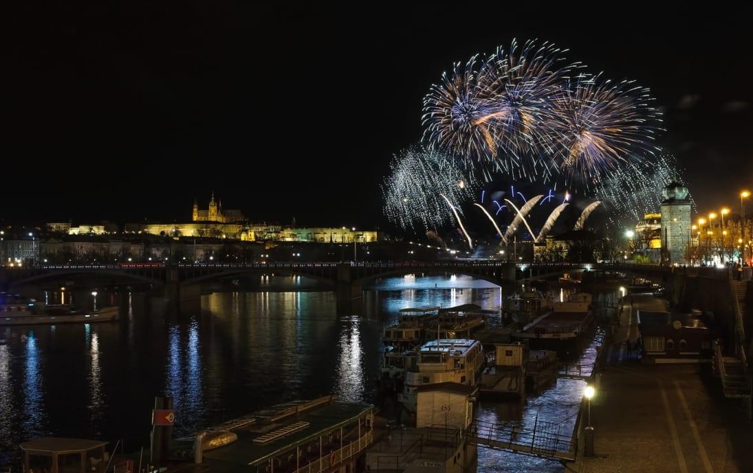 Fireworks on the Vltava river in Prague
