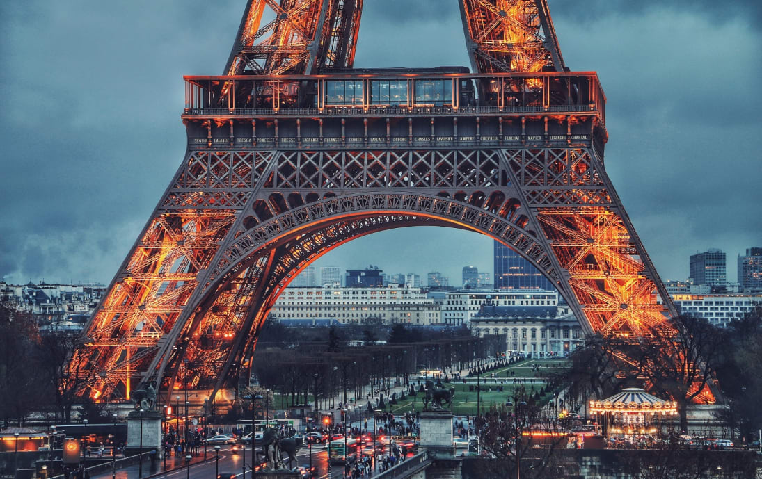 Eiffel Tower at dusk in Paris