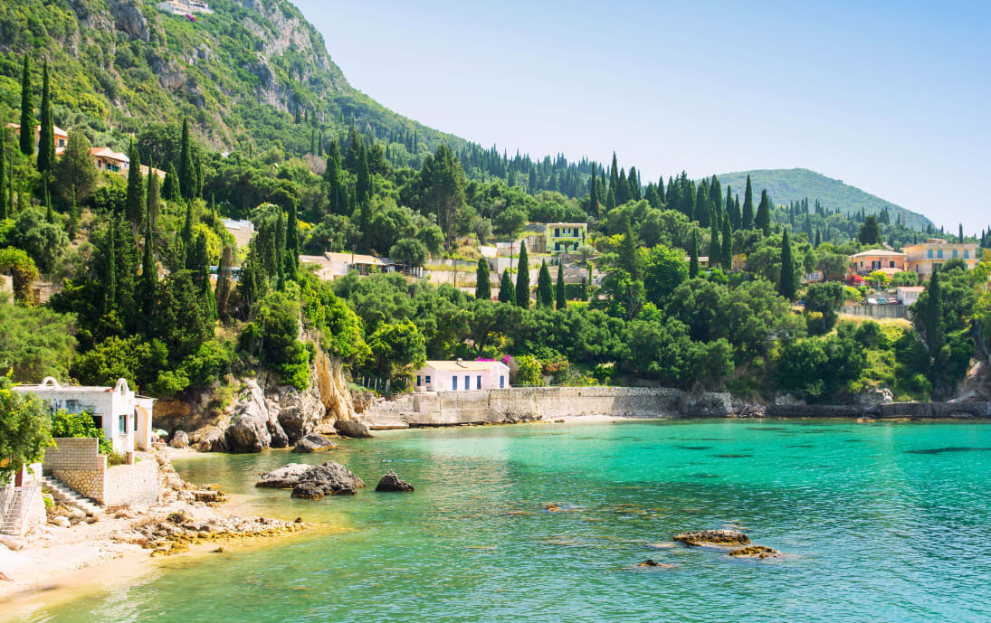 Beautiful Corfu coastline with greenery