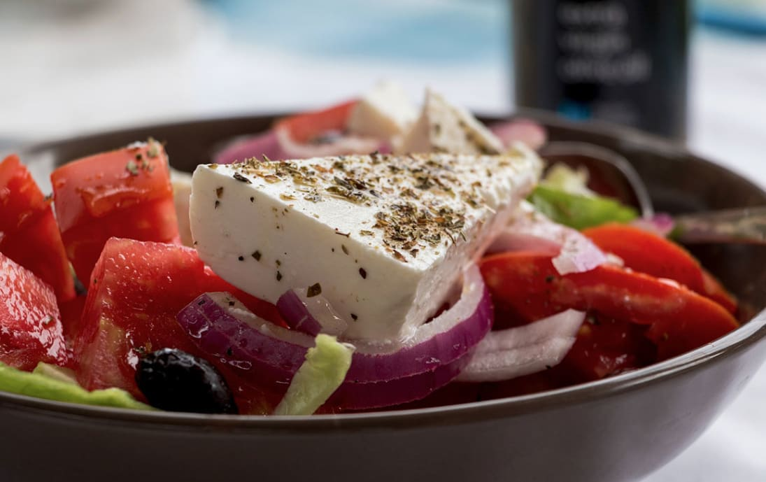 A delicious Greek Salad with feta