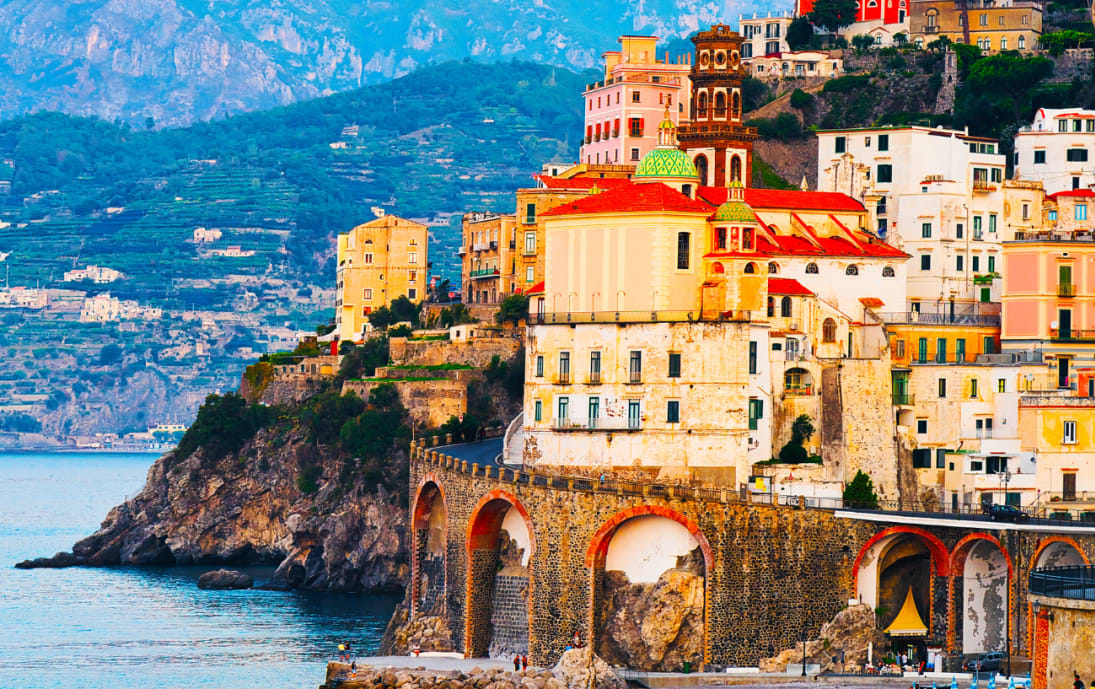 Amalfi Town and Tyrrhenian Sea during Sunset