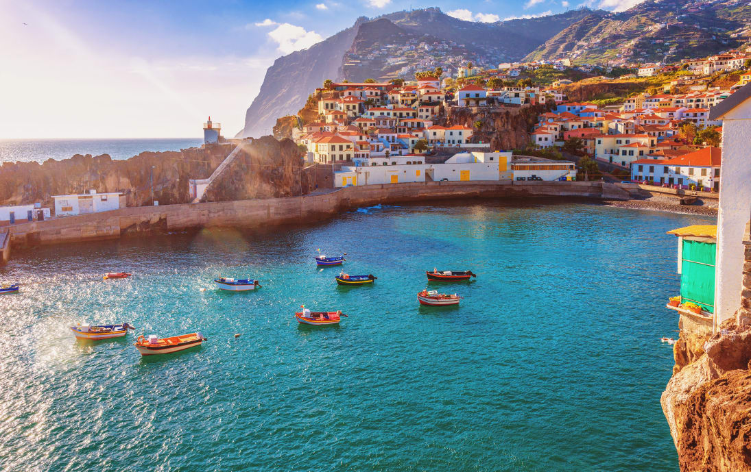 Bright Funchal coastline on Madeira