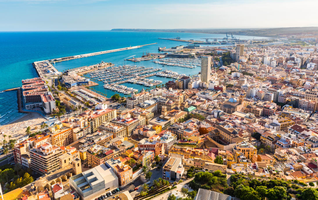Alicante skyline and harbour, Spain