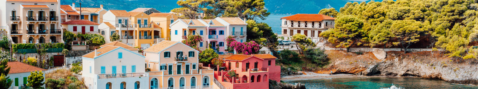 Serene bay in Kefalonia with bright buildings