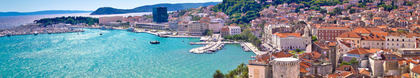View from above of Split town and harbour