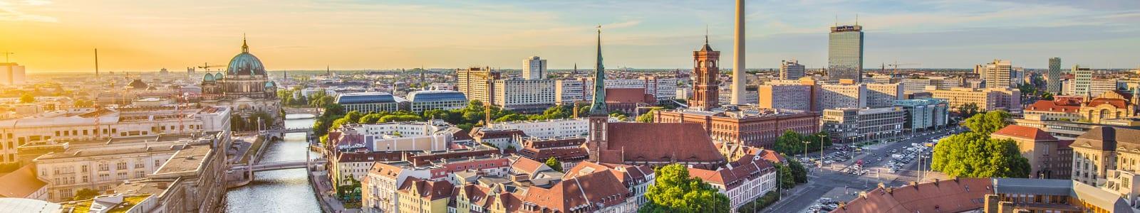Waterside view of Berlin landmarks