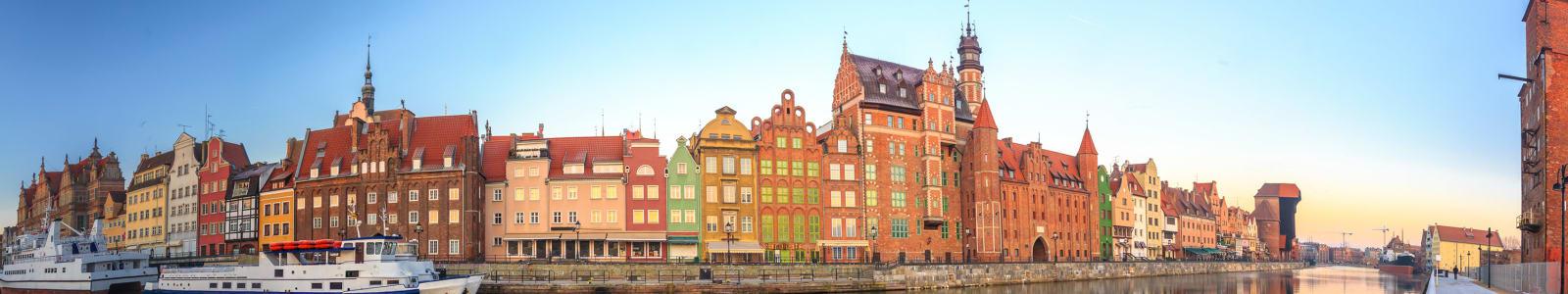 The colourful Gdansk waterside