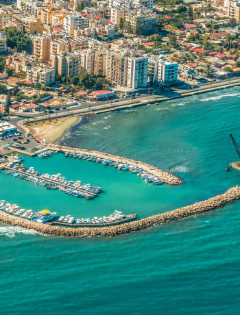 Aerial view of Larnaca town and harbour