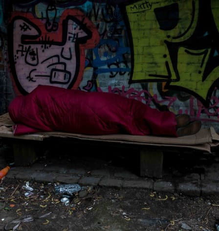 Person sleeping in a sleeping bag