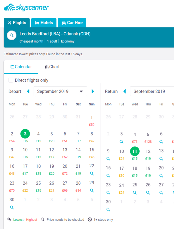 Skyscanner flight search results