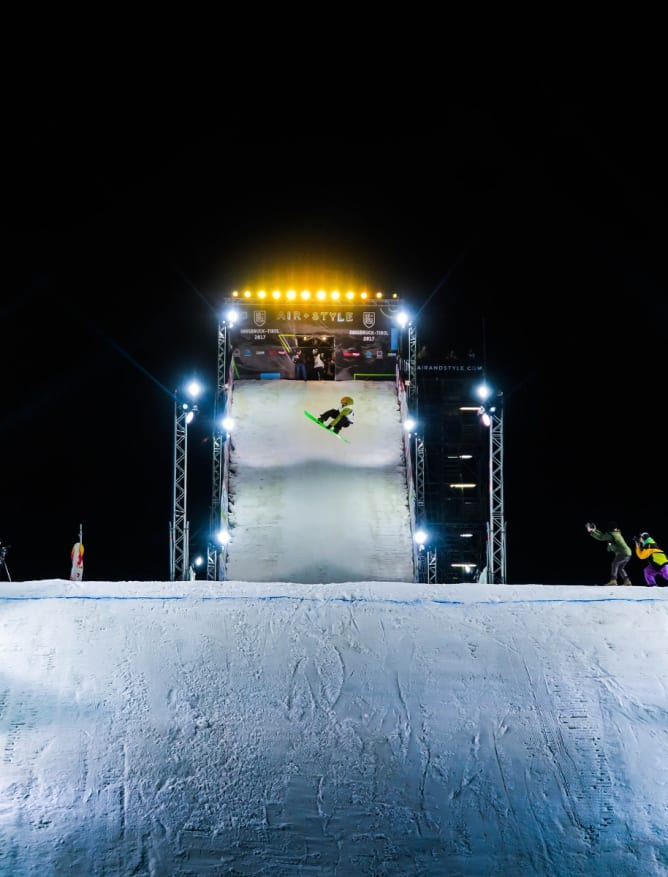 Snowboarding event in the peaks above Innsbruck