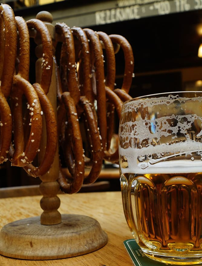 Pretzels and pilsner in Prague