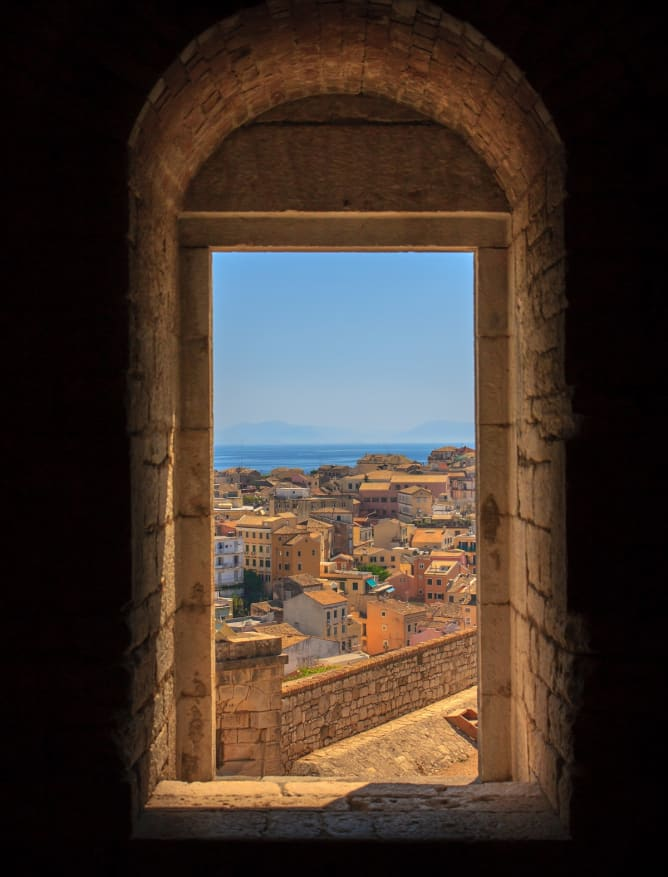 A framed view of Corfu Town