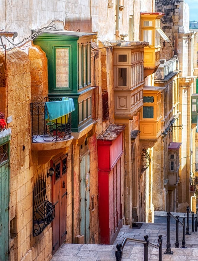 Colourful street in Valletta town