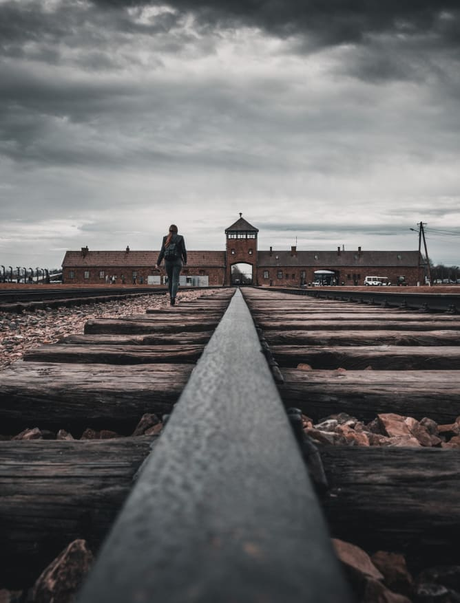 Track into harrowing Birkenau, Auschwitz