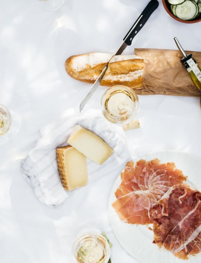 Traditional food with wine in Tarragona region