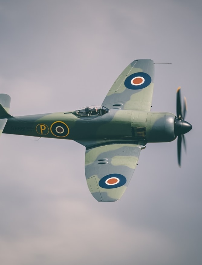Hawker Sea Fury flying at an air show
