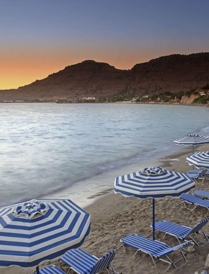 Rhodes beach at sunset