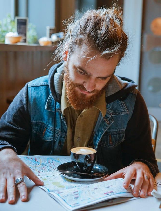 Trip planning in Belfast coffee shop