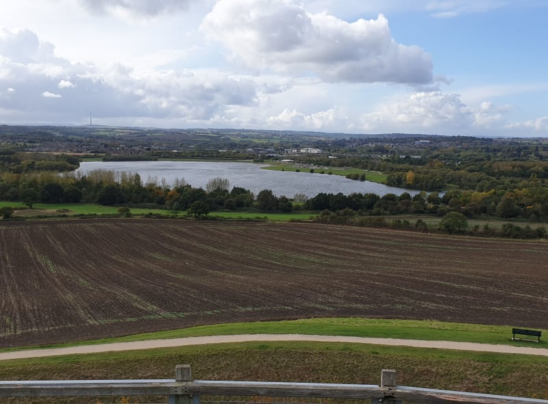 View of Pugneys Country Park from Sandal Castle, 2020