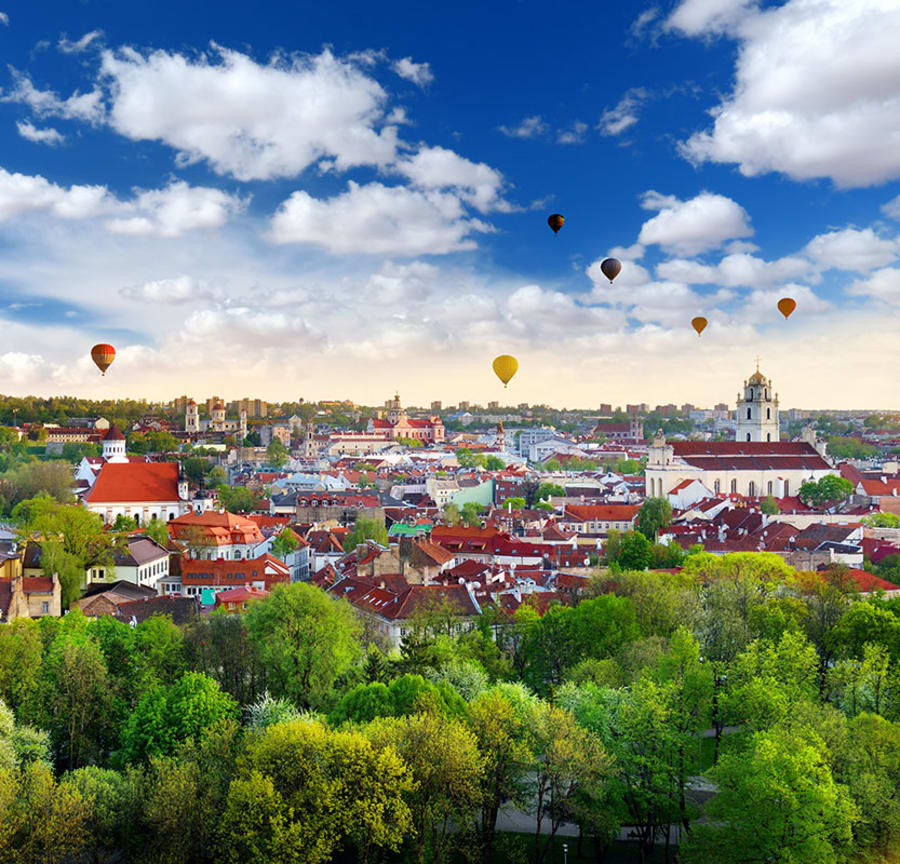 Hot air balloons over Vilnius, Lithuania
