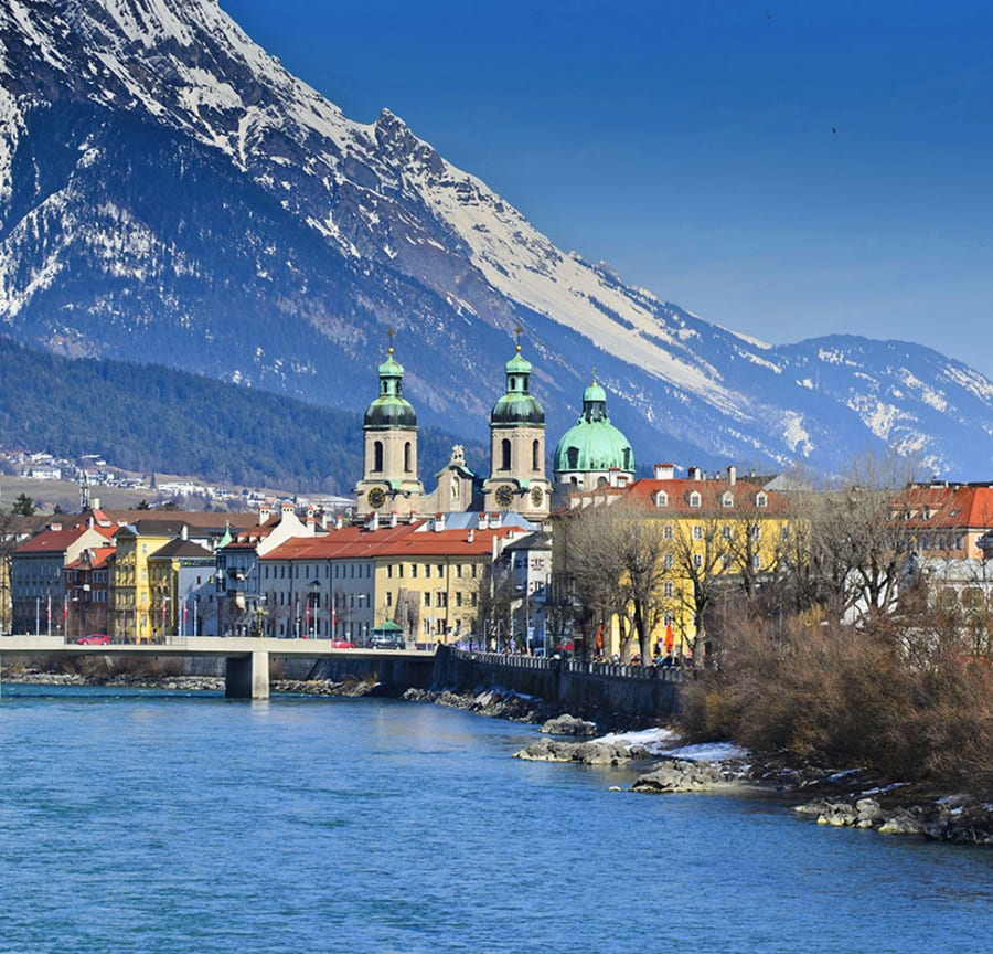 River and mountainside Innsbruck