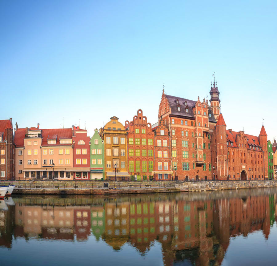 The colourful Gdansk waterside