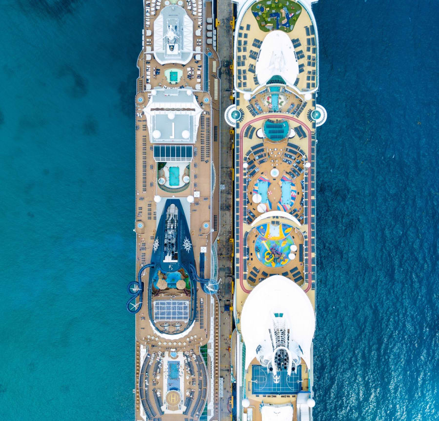 Cruise ships from above