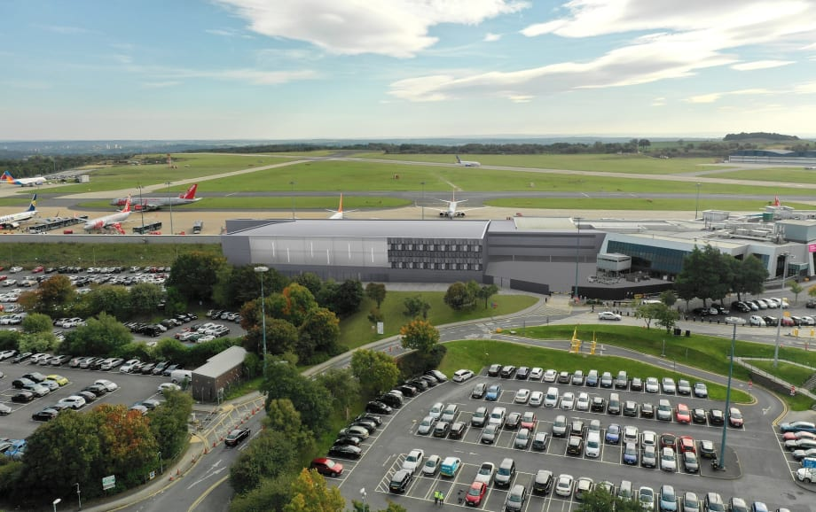 Aerial view of proposed terminal extension at Leeds Bradford Airport