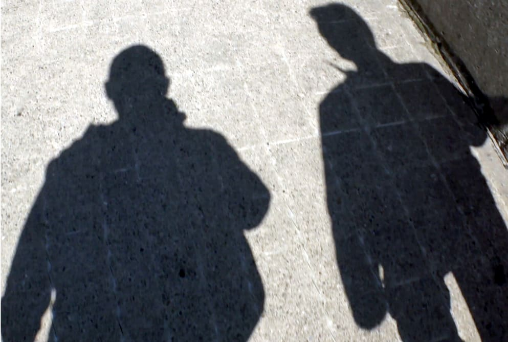 The shadows of two men walking side by side