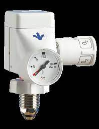 Suction - Single Stage Medireg & Schrader Valve - Bullnose - O² - for F-size Cylinder
