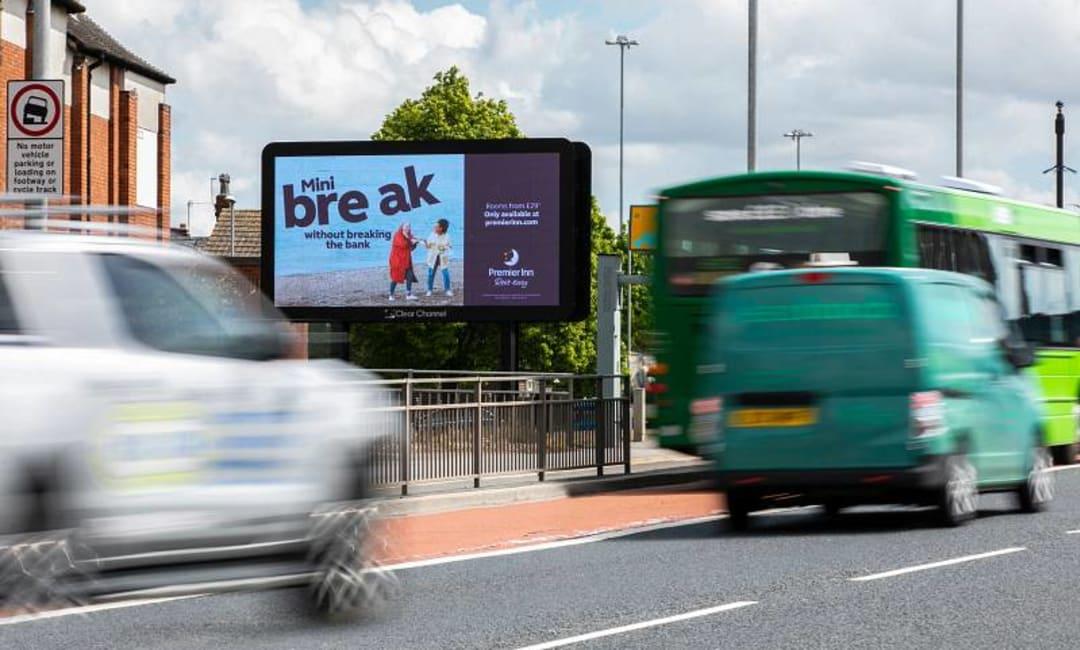Roadside advertising billboard