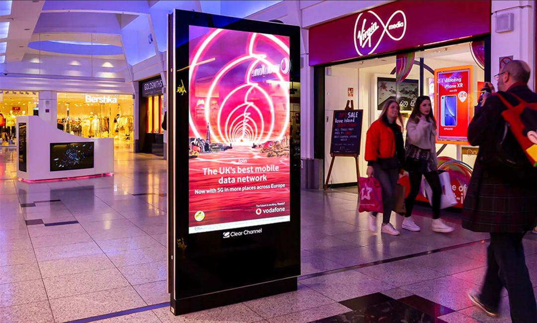 Video poster on malls advertising screen