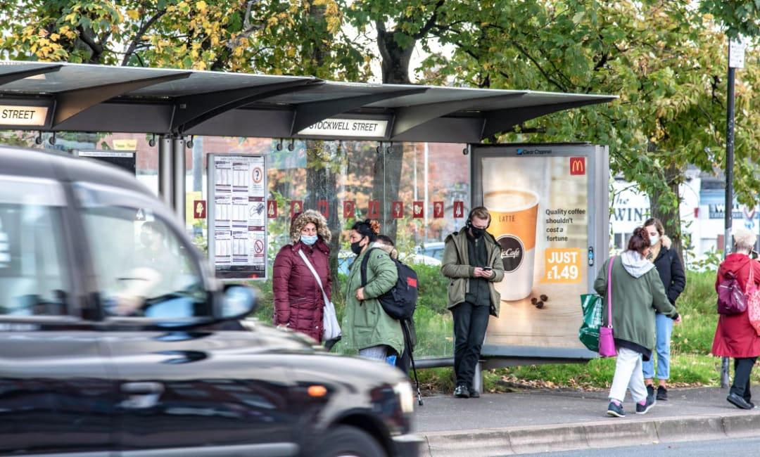 McDonalds poster ad for coffee in bus shelter