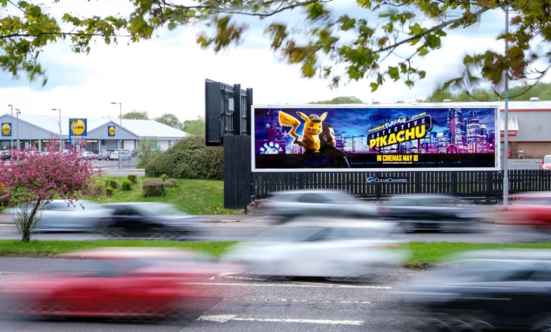 Warner Bros - Detective Pikachu film ad on Billboard site