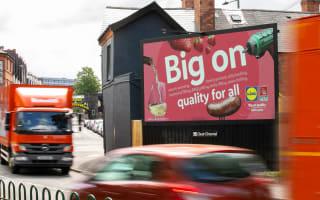 Lidl brand advert on digital Billboard Live screen with traffic